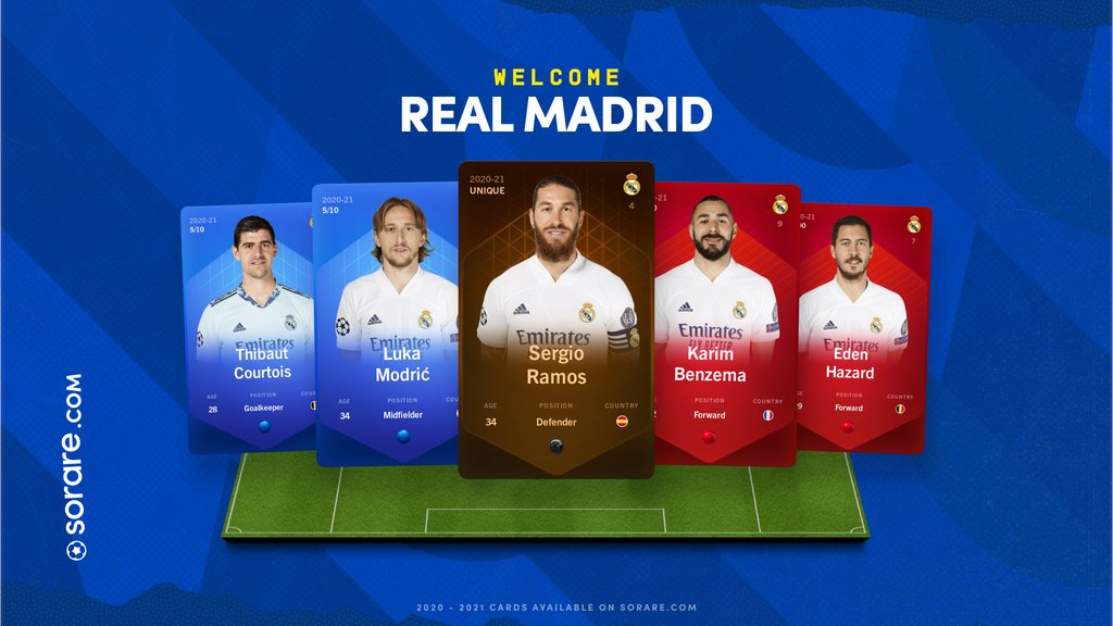 It's official: Real Madrid C.F. joins Sorare! 🇪🇦  First Edition card sales are on auction now🚀  ⚪⚪ Official digital @realmadrid cards, only on   #HalaMadrid