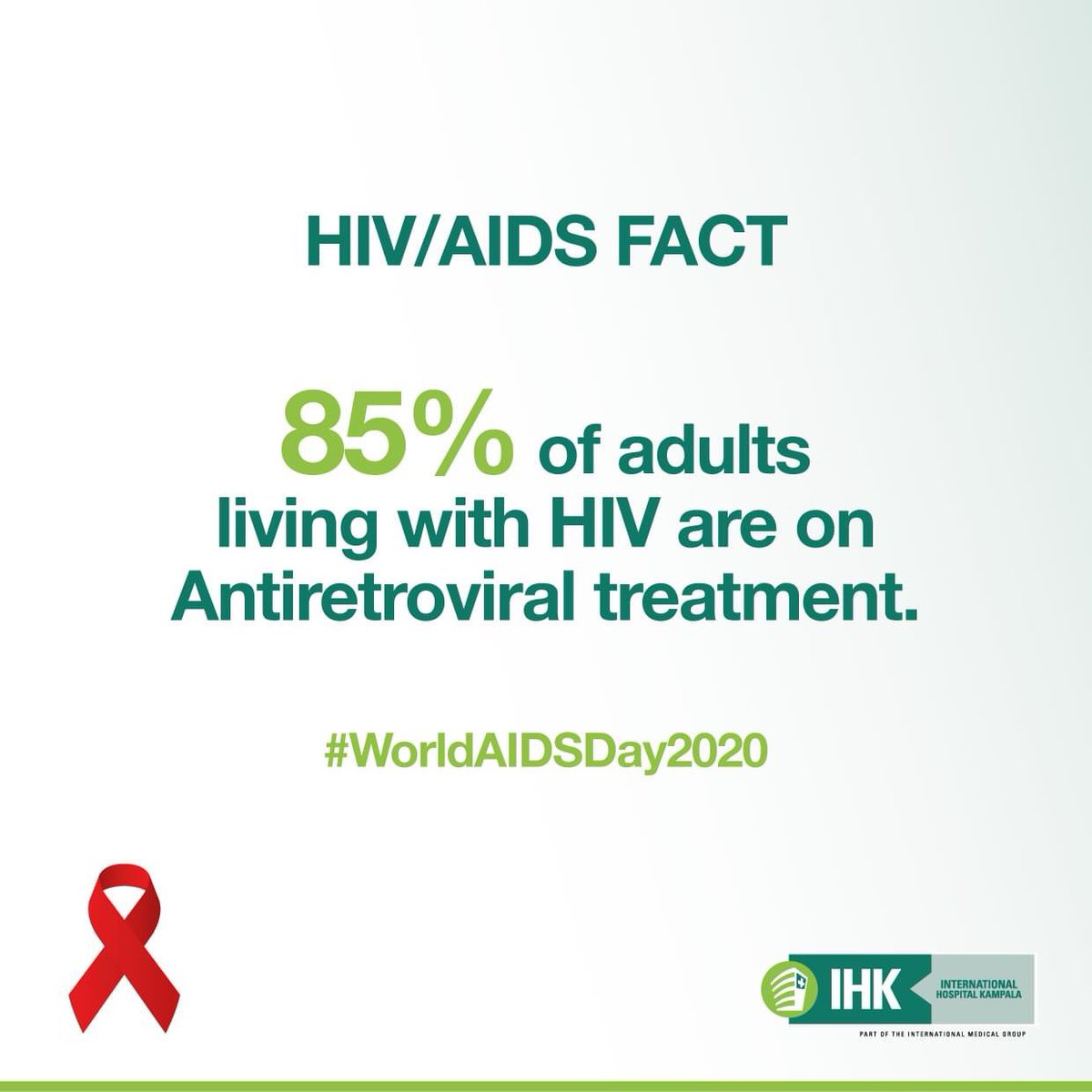 85% of adults living with HIV are on Antiretroviral treatment. #AIDSAwareness #WorldAIDSDay2020