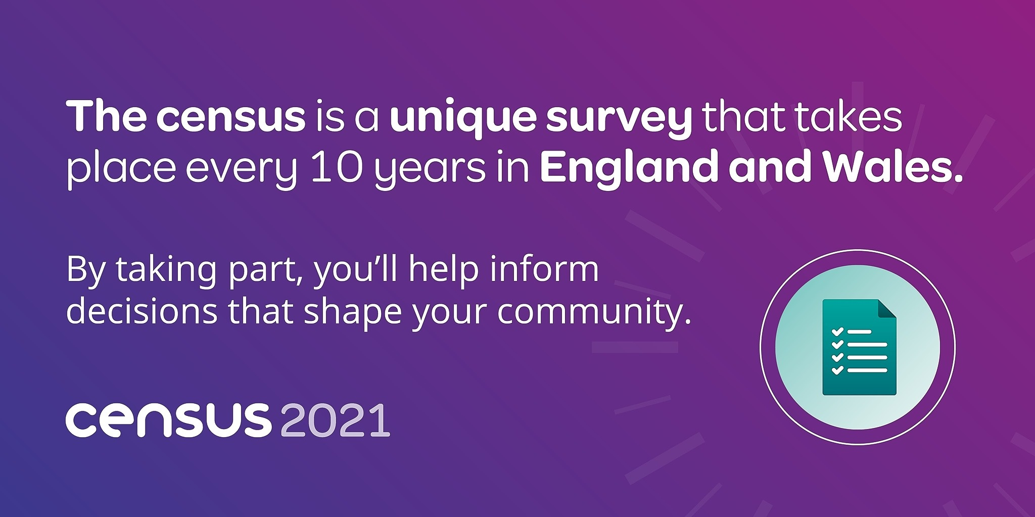 Census banner - the census is a unique survey that takes place every 10 years in England and Wales
