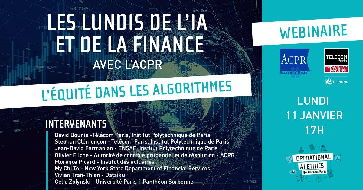Les Lundis de l'#IA et de la #Finance ⏰ 2e #conférence avec @ACPR_actu lundi 11 janvier : l'équité dans les algorithmes ; biais, discriminations et impacts dans le secteur de la finance avec @actuaires_IA, @dataiku, @Defenseurdroits et @NYDFS https://t.co/Dy0vjw8qcY https://t.co/gRtj7HDPBQ