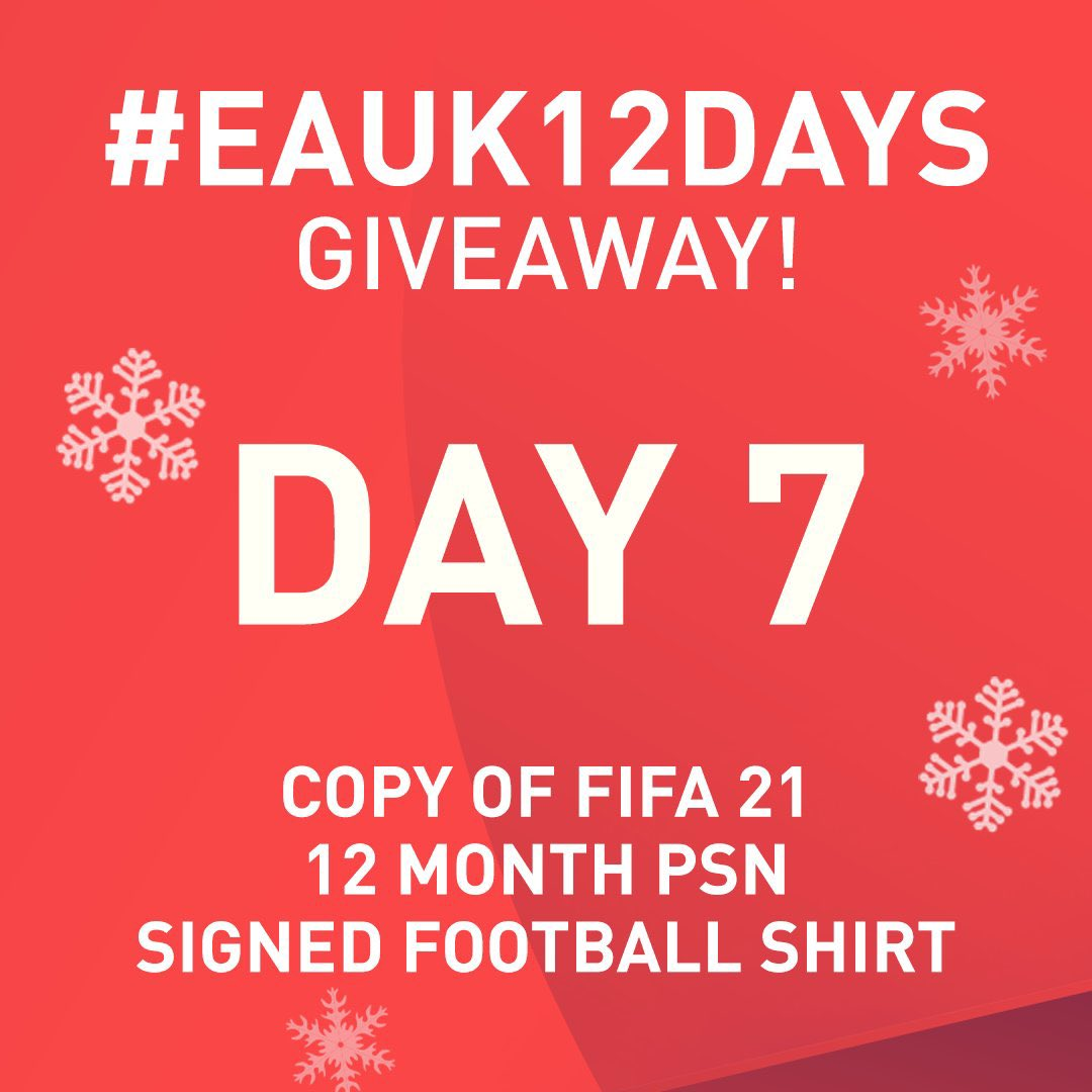 It's Day 7 of #EAUK12Days! 🎄🎅   I'm giving away:  - Copy of #FIFA21 - 12 Months PSN code - Signed Premier League squad shirt of your choice!   To enter all you need to do is RT and follow me  #Ad