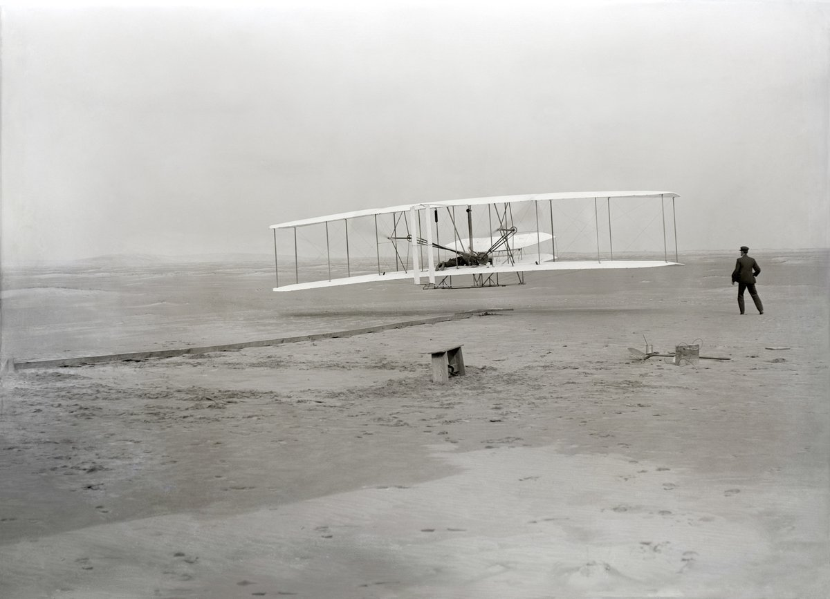 """We were lucky enough to grow up in an environment where there was always much encouragement to children to pursue intellectual interests; to investigate what ever aroused curiosity."" - Orville Wright  Wright Brothers at Kitty Hawk, this morning 1903:"