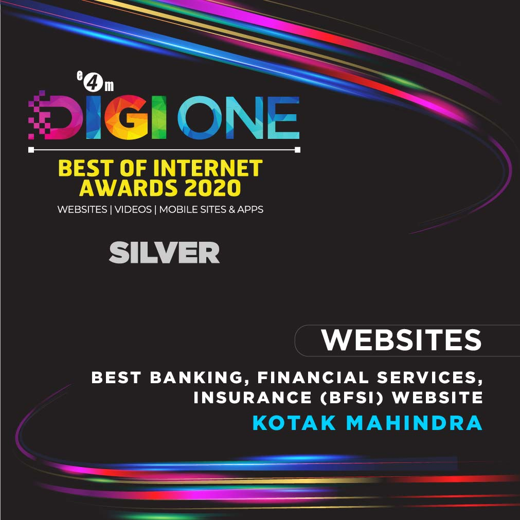 We are delighted to announce Kotak Mahindra  won Silver at #DigiOne Best of Internet Awards for Best Banking, Financial Services, Insurance (Bfsi) Website. Our heartiest congratulations to the team. @KotakBankLtd