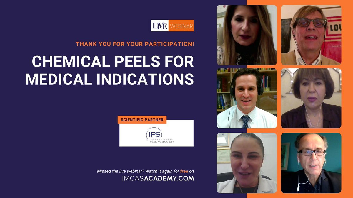 "- REPLAY THE WEBINAR –  The latest webinar (and the last of the year) dedicated to ""Chemical peels for medical indications is now available for free replay on IMCAS Academy! Replay it here https://t.co/tom0d89eNR https://t.co/J6Y7BhBLPv"