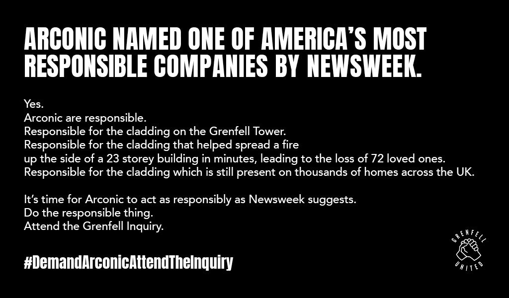 .@Newsweek has named @arconic one of 'America's Most Responsible Companies' 😱  THIS is what @arconic are responsible for 👇  #DemandArconicAttendTheInquiry  cc. @NancyCooperNYC