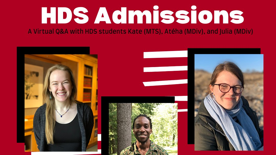 Calling all prospective students! Tomorrow meet current students Kate, Atéha, and Julia as they take over @HarvardDivinity Instagram to answer your questions about HDS, tips and tricks for a strong application, and what life is really like at HDS   Applications are due on Jan. 7!