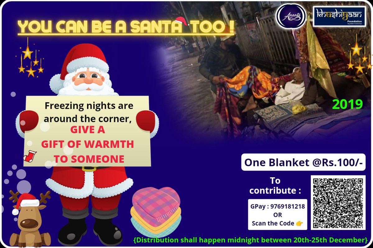 We have received contribution for 350 blankets.  750 more to go ...  Please spread the word and contribute your bit.  10 Blankets - Rs.1,000   Donate via  1) Gpay / Paytm : 9769181218 2)