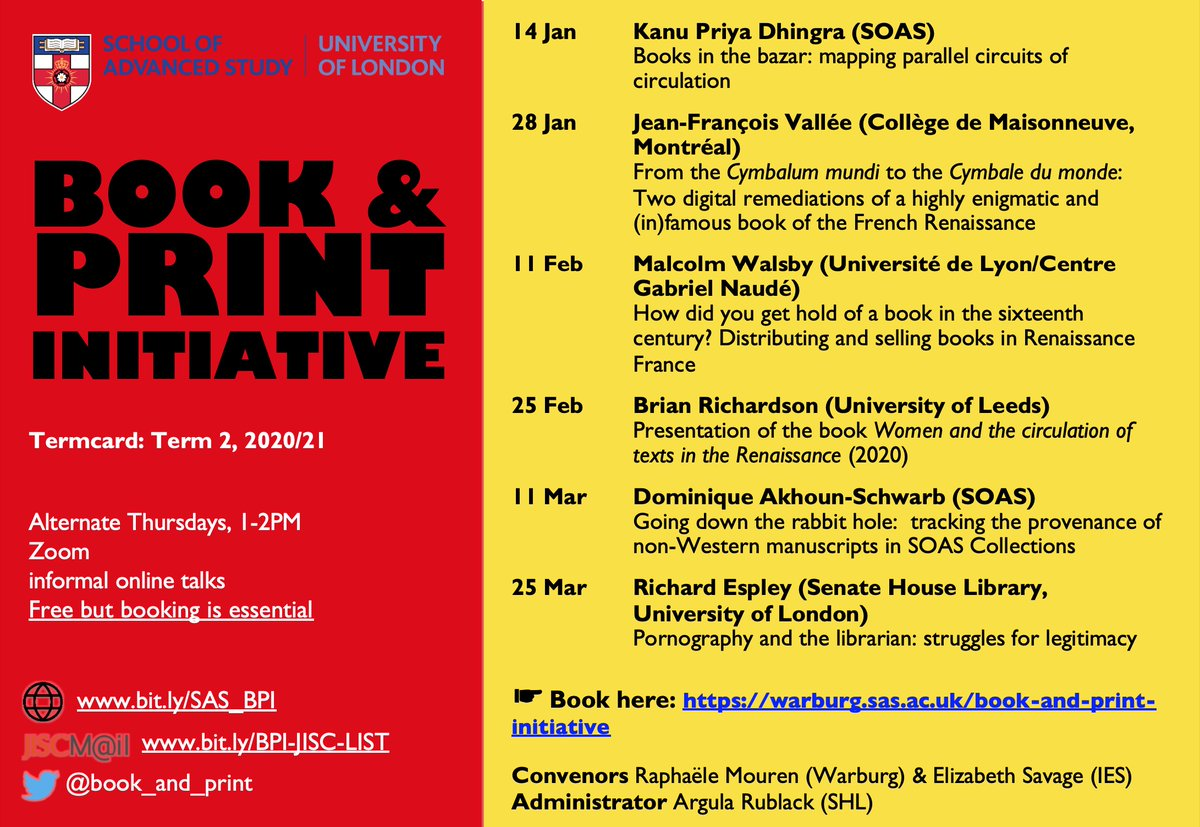 The Book and Print Initiative's spring term events are here! Starting 14 Jan, join us for informal online talks, alternate Thursdays, 1-2PM, on Zoom. Our events are free and everyone is welcome but make sure to book in advance: warburg.sas.ac.uk/book-and-print…