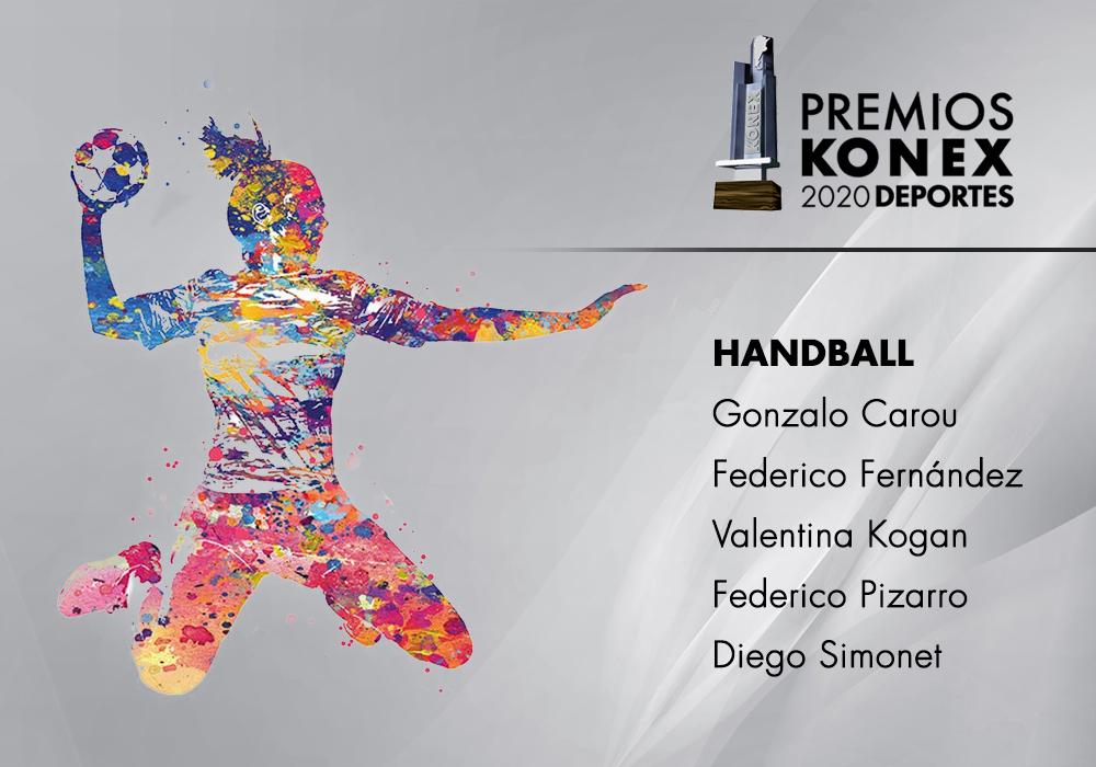 Los mejores jugadores de #Handball de la última década en #Argentina ganadores del #PremioKonex son:  🔹@CarouGonzalo 🔹@fernandezfede2 🔹Valentina Kogan 🔹Federico Pizarro 🔹@chinosimonet  Acá el listado completo de premiados👇