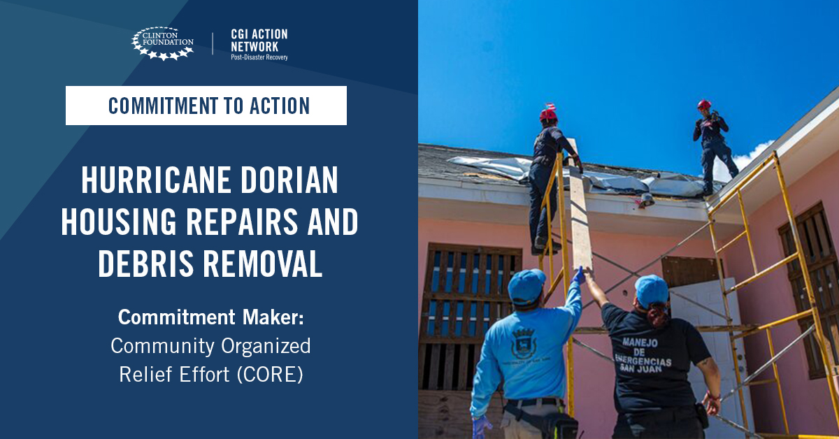 .@CoreResponse committed to support the Abaco Islands and Grand Bahama Island by repairing 300 homes, removing debris for 35 sites and providing 20 solar streetlights to neighborhoods that lack electricity.