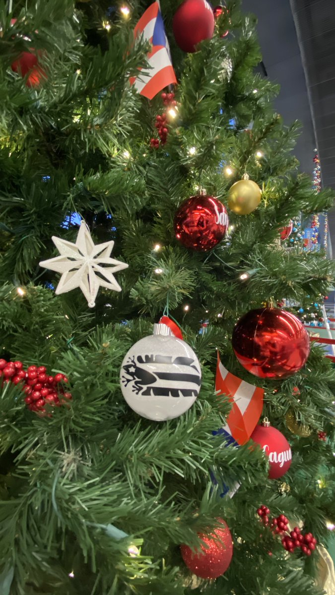 The Puerto Rican Arts & Culture Museum decorated their tree with ornaments representing the municipalities in #PuertoRico and topped it off with a traditional #pava! Head to Gate F3 to see this tree!  #DeckTheTerminals #SeasonsGreetingsfromORD #12DaysOfTrees