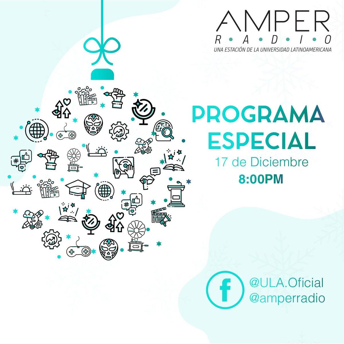 La Universidad Latinoamericana te invita a conectarte al programa especial de la primera temporada de Amper Radio que será transmitido en nuestro Facebook, donde nuestros alumnos y docentes nos platicarán sus anécdotas acerca de este primer capítulo. 📻🎙  ¡No te lo pierdas! https://t.co/MXIIPlKmOi