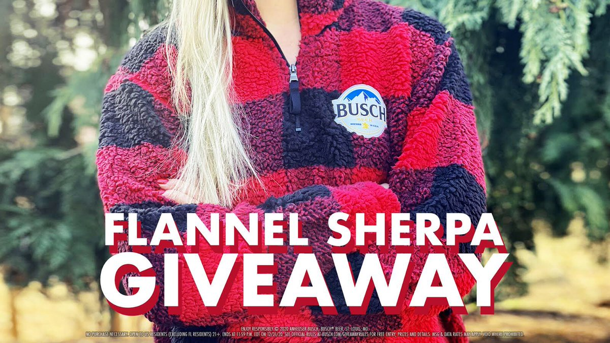 🚨SHERPA SWEATER GIVEAWAY🚨  Retweet with #Sweepstakes and follow us for your chance to win a Busch Flannel Sherpa Sweater! Tag someone 21+ who would hike to the top of a mountain to get one.
