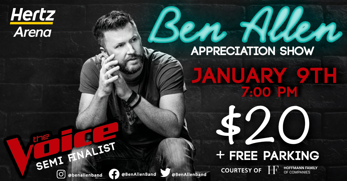 We are pleased to announce that @BenAllenband is making his premiere! Last month you saw him on @NBCTheVoice, now you can see him LIVE at #HertzArena on Jan 9th. 🎟Tickets on sale NOW for $20 & FREE parking courtesy of Hoffmann Family of Companies.  🎟