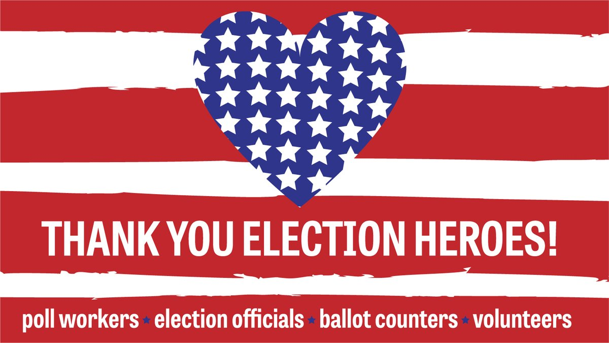 When we vote, we shape the future of our communities.  Thank you #ElectionHeroes for helping voters make their voices heard, counting every vote, and certifying the results.   #DemocracyWorks #ThankYouElectionHeroes