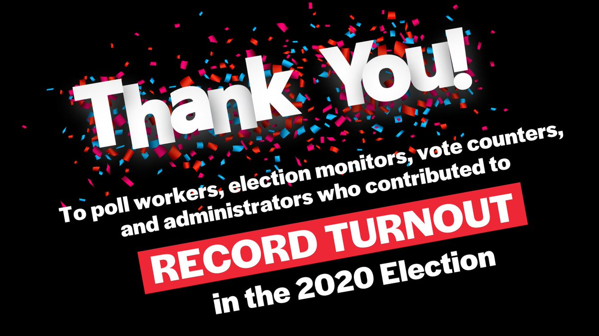 Election officials went above and beyond to make sure we all had safe, secure voting options this year. Thank you for printing our mail ballots and keeping our voting booths clean. Thank you for supporting voters. And thank you for counting every vote!   #ThankYouElectionHeroes