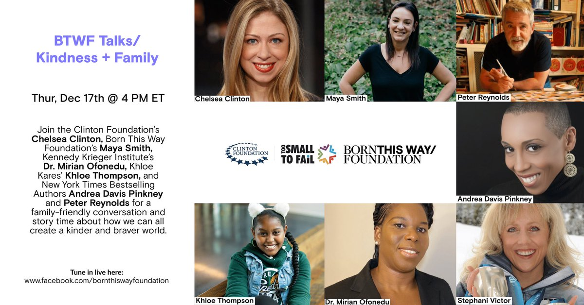 Tune in TODAY at 4 pm ET for our BTWF Talks/ on Kindness + Family! 💖  Join @ChelseaClinton, @AndreaDavisPink, Dr. Mirian Ofonedu, @KhloeKares, @peterhreynolds, @stephanivictor, and our @MEnista for a convo on how building a kinder world can start at home: