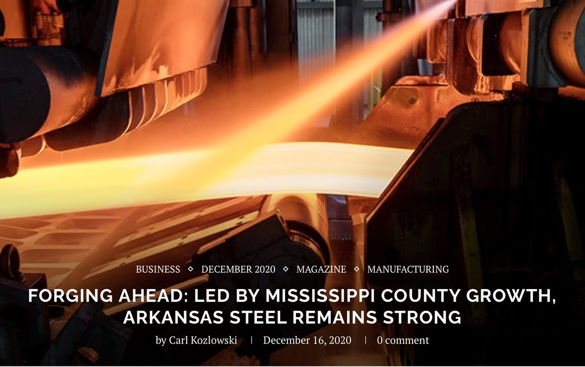 Decembers @amppob features a great story on #Arkansas steel in which Chairman Caldwell speaks on the importance of industry-led #workforcedevelopment to further manufacturing growth in the #DeltaRegion: bit.ly/3aktpAM #InvestingInTheDelta #DeltaWorkforce