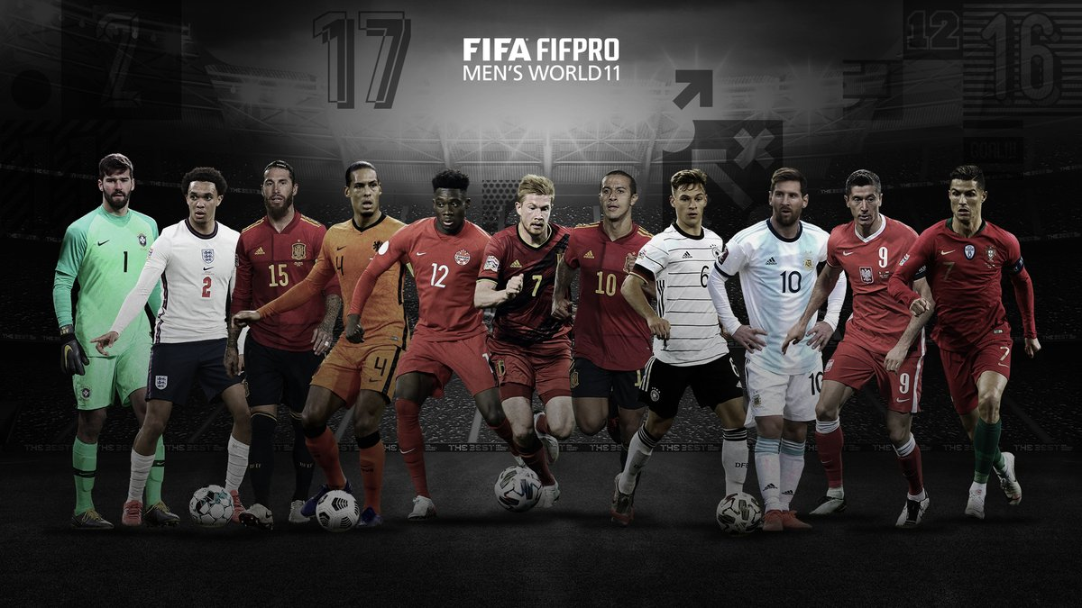 🥁 Here is the FIFA @FIFPro Men's #World11 2020:  📝 @Alissonbecker, @TrentAA, @SergioRamos, @VirgilvDijk, @AlphonsoDavies, @DeBruyneKev, @Thiago6, Joshua Kimmich, Lionel Messi, @lewy_official and @Cristiano   🤩 What a team!