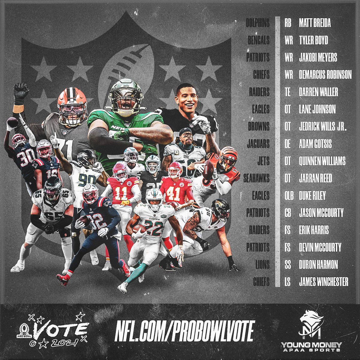 #ProBowlVote ends at midnight! Each RT counts as 2 votes:  @MattBreida  @boutdat_23  @jkbmyrs5  @Demarcus  @LaneJohnson65  @JWills73  @gotsis96  @QuinnenWilliams  @jarranreed  @1Goal1Dream  @McCourtyTwins  @e_harris_31  @dharm32  Darren Waller James Winchester   #YMAPAA