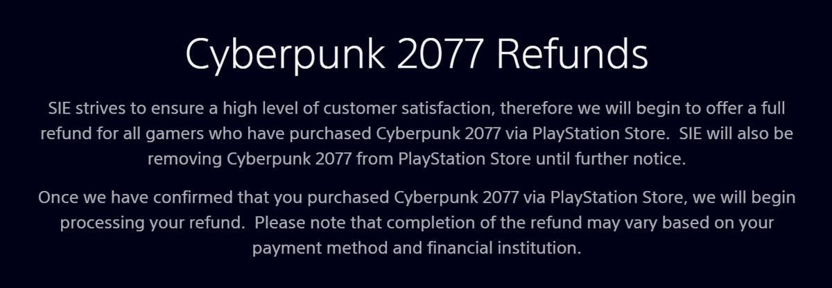 ☹️ Malas noticias para #Cyberpunk2077. Sony retirará el juego de la tienda PS Store hasta próximo aviso. Además ofrece reembolso por el juego siempre y cuando se haya comprado via PS Store. #Cyberpunk