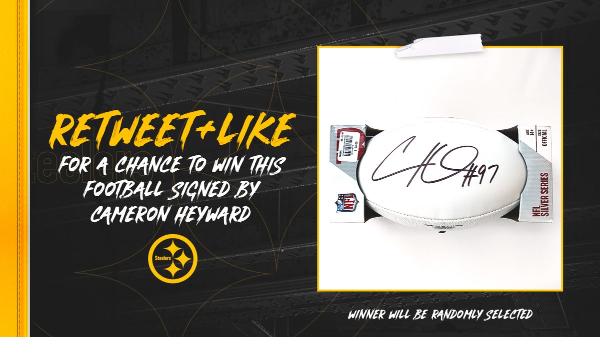 Replying to @steelers: RT + like for a chance to win this 🏈 signed by @CamHeyward! #ProBowlVote