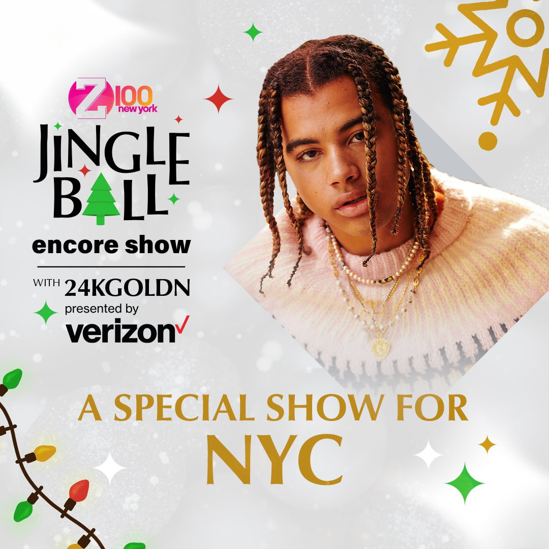 Don't miss my @iheartradio Jingle Ball Encore Show presented by @verizon.  A special show just for NYC! Watch with me live on Today at 7PM only on . #iHeart24kGoldn #verizon