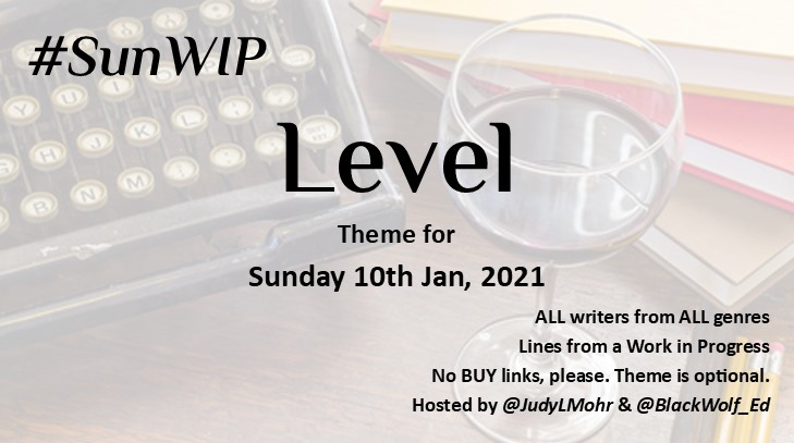 Time for the #SunWIP theme to LEVEL up. What have you got for me? All welcome. Share a line from your #WIP. No BUY links. #amwriting #amediting #WritingCommunity #creativewriting #writers
