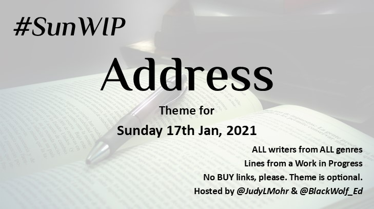 Let's ADDRESS the #SunWIP theme. What have you got for me? All welcome. Share a line from your #WIP. No BUY links. #amwriting #amediting #WritingCommunity #creativewriting #writers