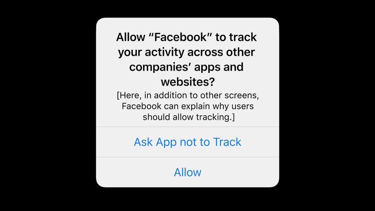 We believe users should have the choice over the data that is being collected about them and how it's used. Facebook can continue to track users across apps and websites as before, App Tracking Transparency in iOS 14 will just require that they ask for your permission first.