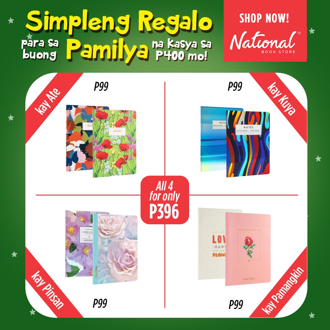 Naghahanap ka ba ng simpleng regalo para sa buong pamilya mo? Get Victoria's Journals sets for only P99 each!  Shop for them in our branches or online: 🔗 🔗 🔗  #VictoriasJournals #NBSgifts #NBSeveryday