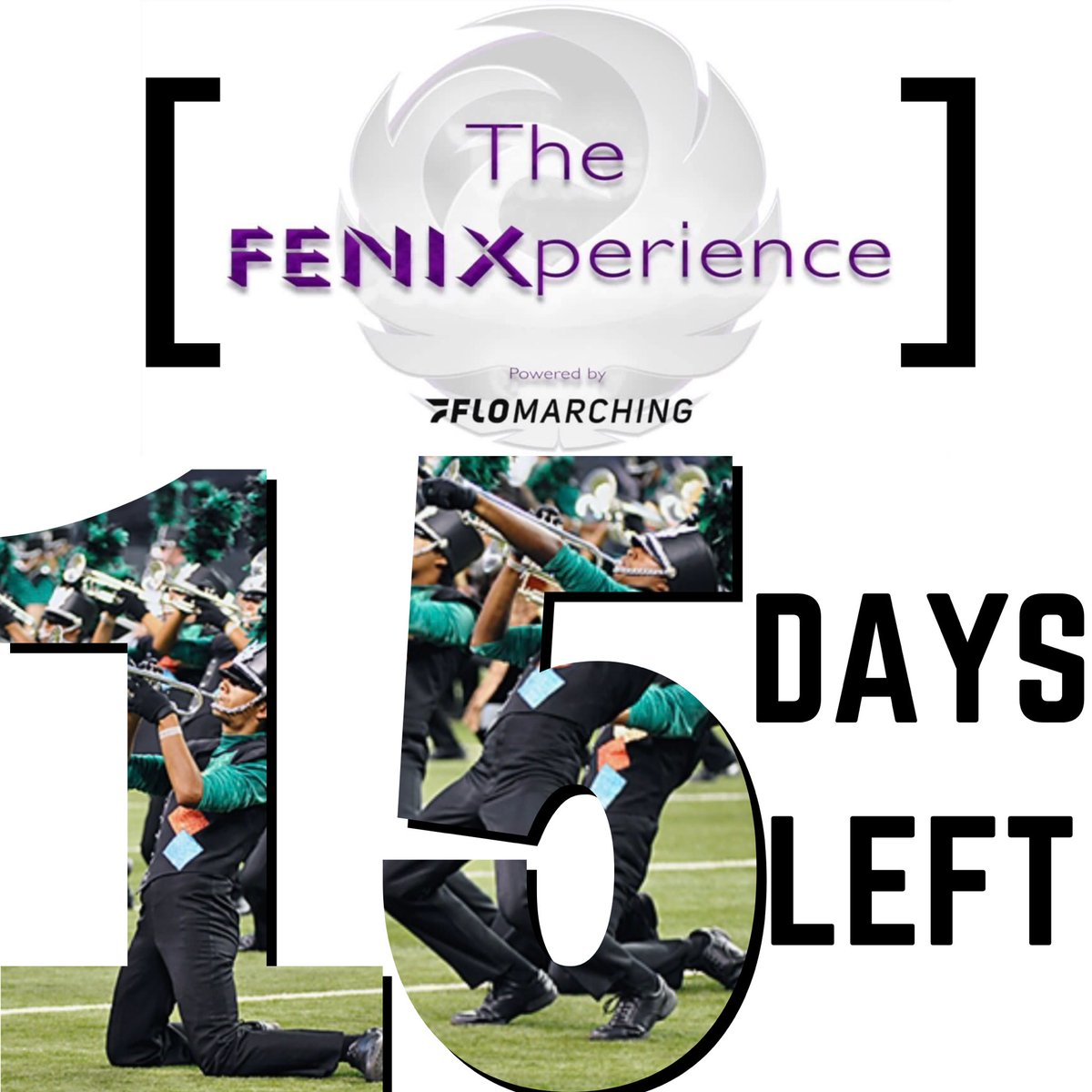 Only 15 days left to register for our FENIXperience (Powered by FloMarching)! Visit our website for more information ➡️   #fenixfam #genesisdbc #drumcorps #dci #dcicolorguard #dcipercussion #dcibrass #pureimagination #FENIXperience #auditions #band
