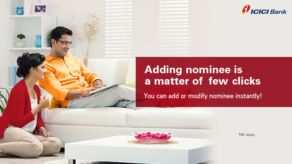 Now, update your account nominee instantly and easily with the 'Update Nominee' feature on the #ICICIBank internet banking facility.   To update your nominee, visit:    #BankFromHome