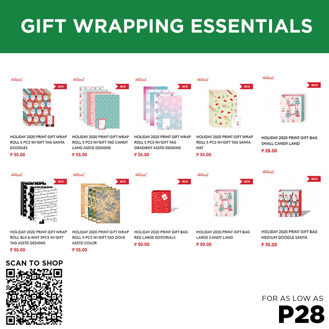 Complete your Christmas gifts with these beautifully designed wrapping paper and paper bags, available for as low as P28 each!  Shop online now by scanning the QR Code or visiting this link: . You can also shop for them in selected branches. #NBSeveryday