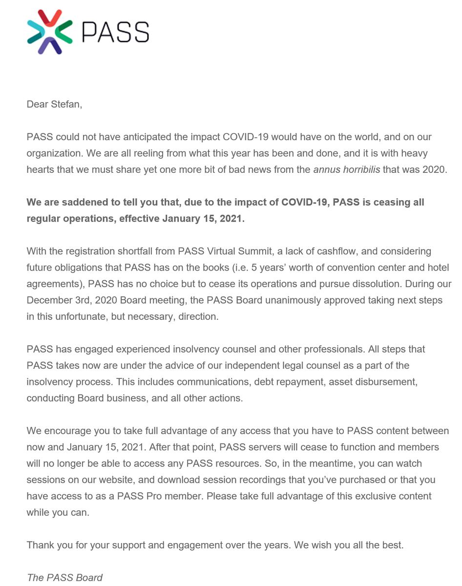 test Twitter Media - Ooops, ein COVID-Opfer etwas anderer Natur: Die PASS (Professional Association for SQL Server), eine Non-Profit Organisation, die weltweit mehr als 300.000 Mitglieder hat, wird aufgelöst! Ich hoffe sehr, dass der deutsche Ableger @sqlpass_de bestehen bleiben kann! #sqlpass https://t.co/S5WJBrTKDe