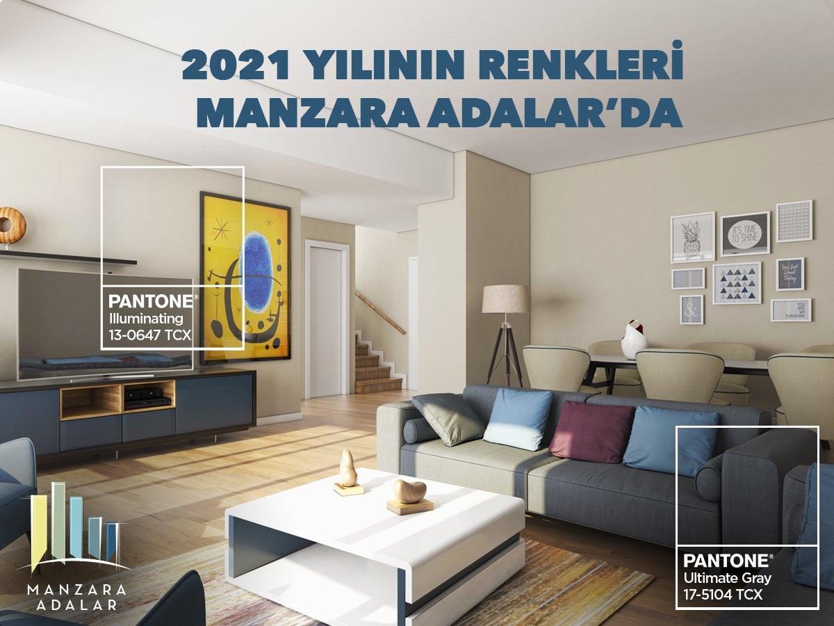 Pantone Renk Enstitüsü, 2021 yılı için 2 renk birden seçti. Ultimate Gray; dayanıklılık ve gücü temsil ederken, Illuminating; sarının canlandırıcı, yumuşak ve iyileştirici etkisinden yararlanıyor. Manzara Adalar'da 2021 yılının renklerine her zaman şahit olabilirsiniz. #pantone https://t.co/ioFDB5bdaq