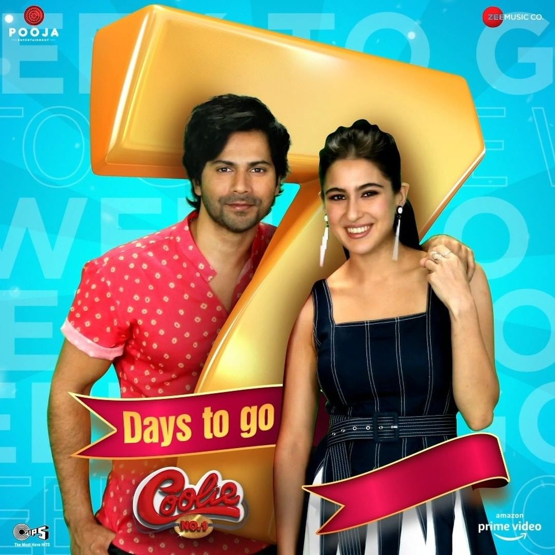 7 days to go #CoolieNo1OnPrime 1 Week to go #CoolieNo1 Release christmas day 🤗🎉🎅🎄⛄ 25 December 2020 only on @PrimeVideoIN OTT platform #VarunDhawan #SaraAliKhan #excitedforcoolieno1 #DividDhawan sir #jackybhagnani @Varun_dvn i am so excited vd 😍😍