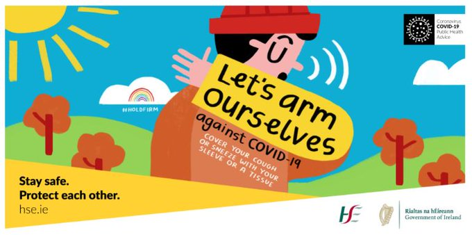 An illustration of a man sneezing into his arm and the words 'let's arm ourselves against COVID19'