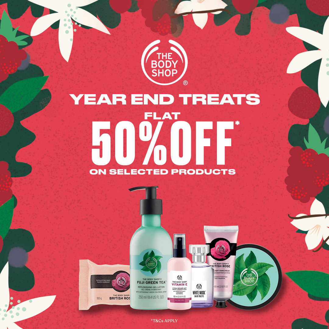 Year End Treats. Flat 50% off on selected products at @thebodyshop at @SGSMallPune  *T&C apply #TheBodyShopIndia #TBSInd #YearEnd #Treats #Offer #Discount #Sale #GrabNow #Hurry