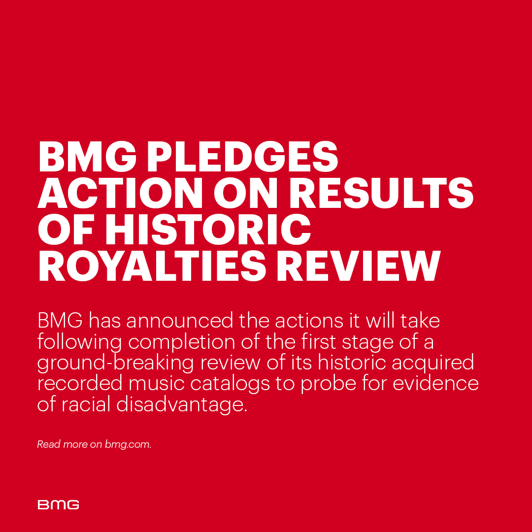 BMG today announces the actions it will take following completion of the first stage of a ground-breaking review of its historic acquired recorded music catalogs to probe for evidence of racial disadvantage. 👉👈