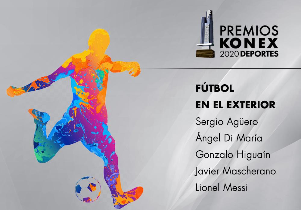Los ganadores del #PremioKonex a los mejores futbolistas en el exterior de la Argentina en la última década son:  🔹@aguerosergiokun 🔹Angel Di María 🔹@G_Higuain 🔹@Mascherano 🔹@Ieomessiok  Acá el listado completo de premiados👇