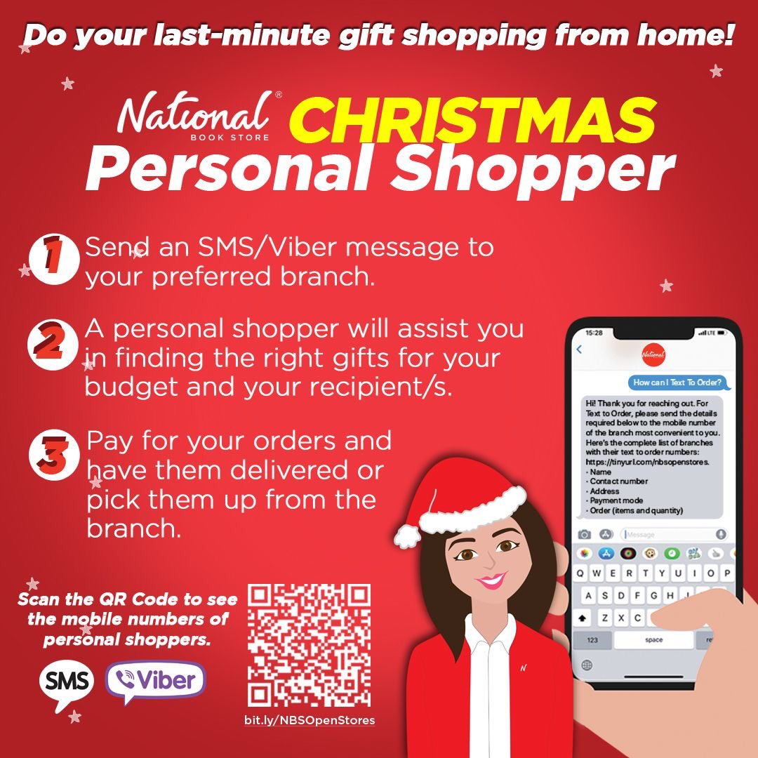 Need to do some last-minute Christmas gift shopping? Our personal shoppers are ready to help you!  Get started by checking out the list of mobile numbers of personal shoppers from our branches nationwide. Scan the QR Code or visit . #NBSgifts #NBSeveryday