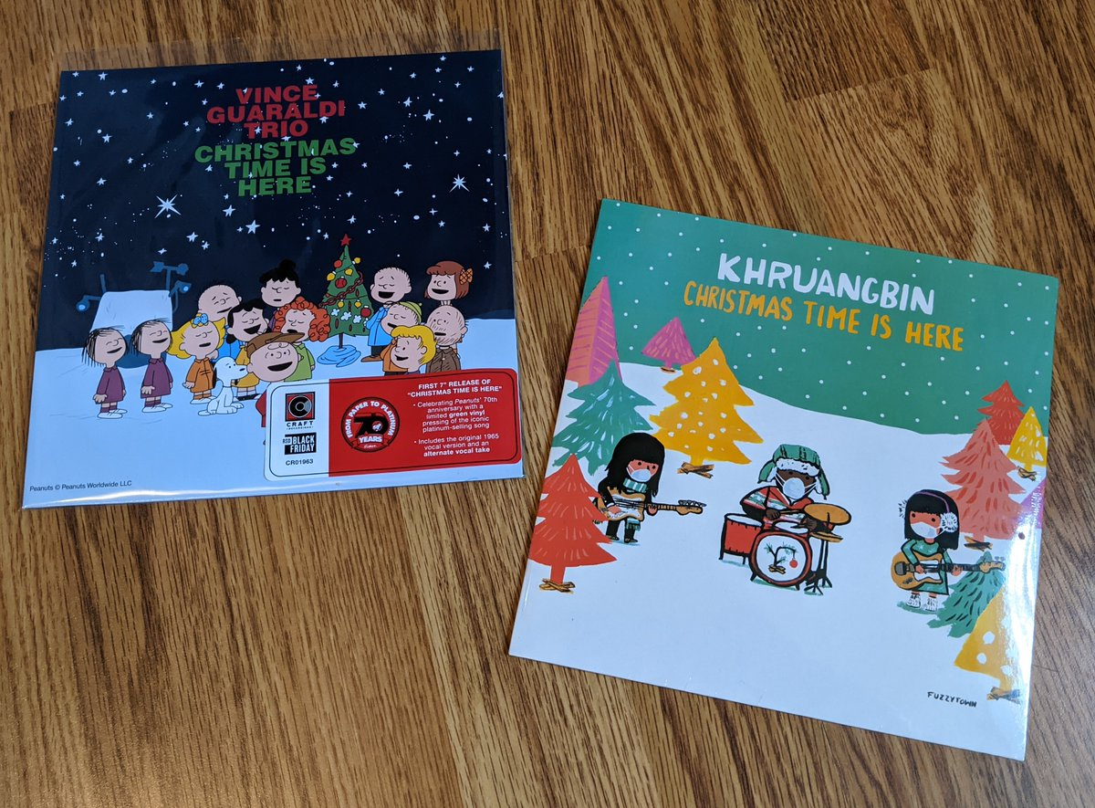 "Christmas Time Is Here Get the ltd red 7"" version of the classic Christmas song by @khruangbin or the #RSD20 Vince Guaraldi version from A Charlie Brown Christmas on green 7"" #vinyl  Shop online or we're open til 6pm today   #christmastimeishere"