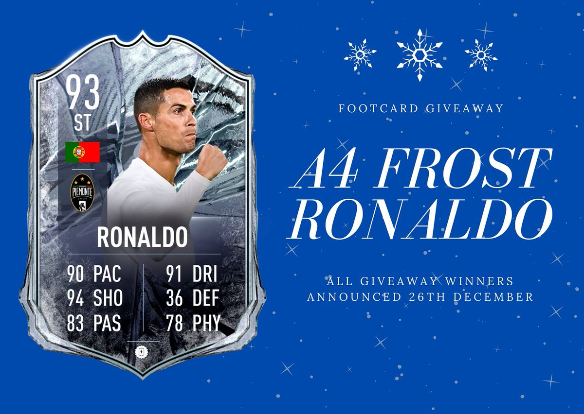 ⚠️FIFA GIVEAWAY⚠️  A4 FROST RONALDO 🇵🇹  To Enter - RT This TWEET & TAG a Friend - Follow @FootCard - Tell us why you want to win  Good Luck🍀 #GIVEAWAY #FIFA21 https://t.co/DomJvIF1wO