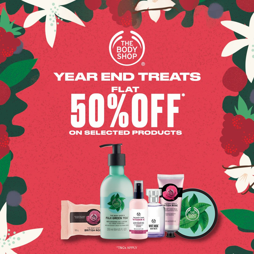 As we near the end of the 2020 chapter, it's time to celebrate with The Body Shop perfect treats!Your beloved products are on SALE at UP TO 50%* off. Shop now at The Body Shop, @AmanoraMallPune.  #AmanoraMall #TheBodyShopIndia #TBSInd #YearEnd #Treats #Offer #Discount #Sale #pune