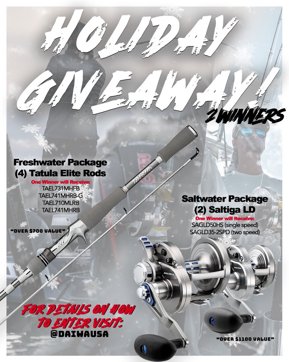 Time for our biggest giveaway of the year! TWO winners chosen- one to receive FOUR Tatula Elite rods and another to win TWO Saltiga LD reels! Rules below enters you for both. Winner selected next week! To win- 1) Like 2) Retweet Winner must follow @DaiwaUSA  Good luck! #DaiwaUSA