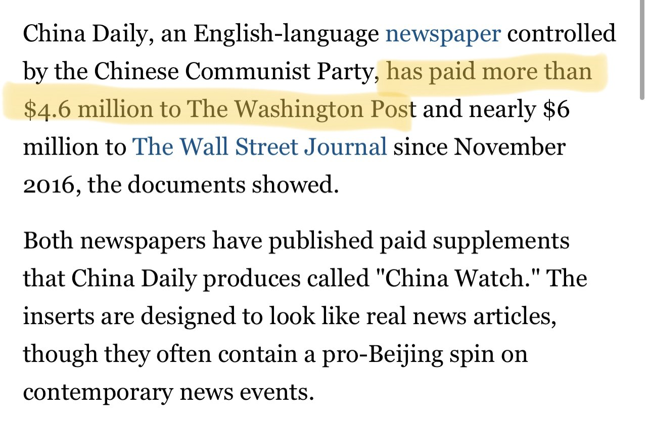 WaPo has taken 4.6 million from a CCP newspaper to publish their propaganda. THEY NEED TO BE SHUT DOWN THIS MOMENT (mobile.twitter.com)