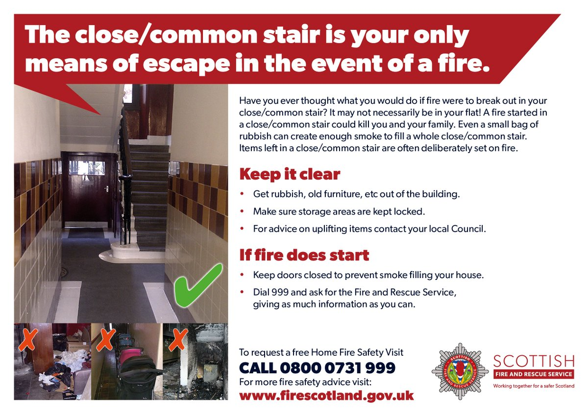 ‼️ Safety Message ‼️ Please remember not to store any items in close/common entry's.