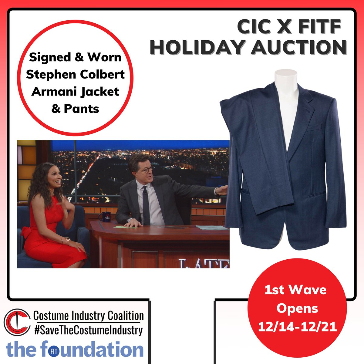 I'm happy to be auctioning off a suit I wore on The Late Show as part of the @fitfoundation @CosIndCo CIC x FITF Holiday Auction! It's a memento of our show and of a time when we still wore pants.  #SaveTheCostumeIndustry