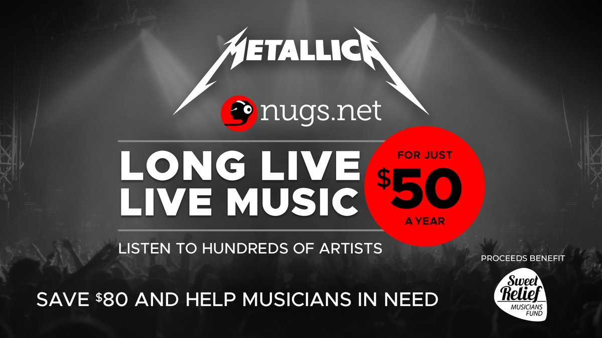 Our friends at @nugsnet are donating $5 from every new annual streaming subscription to @SweetRelief to help musicians & industry workers in need. Right now you can get a full year of streaming for only $50 ($80 off the standard price)!  Start streaming ➡️